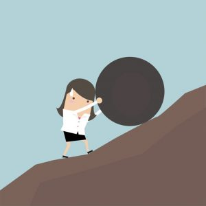 Pushing a boulder up a hill, What to Do When You're Struggling to Make Progress.